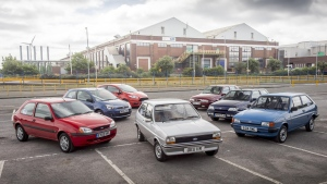 Ford's permanent collection of Fiestas on show to mark the model's 40th anniversary in Dagenham, Essex. (Photo from The Ford Motor Company)