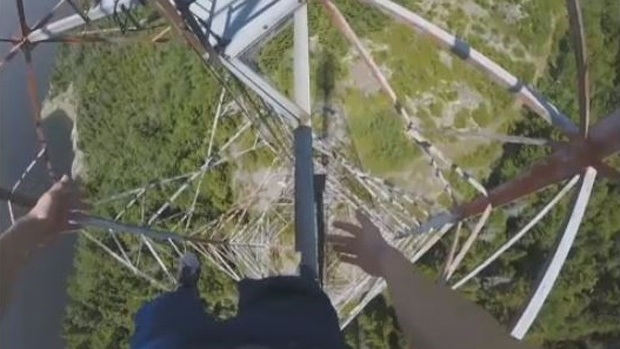 Two teens scaling a high-power transmission tower near Saint John could be in legal trouble.