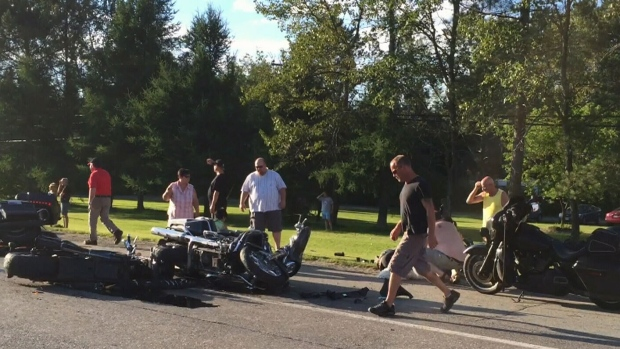 Police say one person has died and nine others were sent to hospital in a motorcycle crash Friday night.