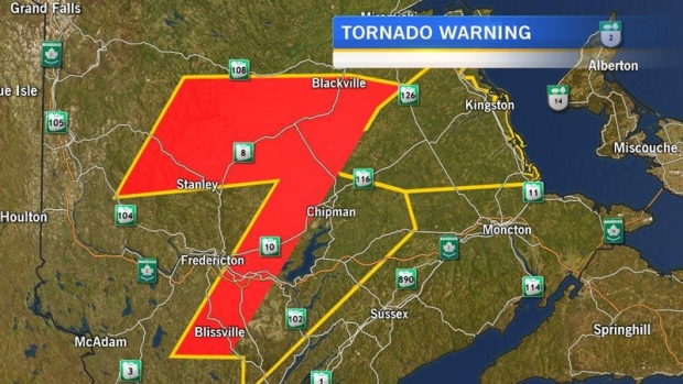 NB residents in the area shaded in red, woke up to a rare tornado warning this morning.