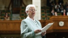 Former Conservative MP Elsie Wayne addresses the House of Commons for the last time prior to Question Period on Parliament Hill in Ottawa Thursday, May 13, 2004. (CP PHOTO/Jonathan Hayward)