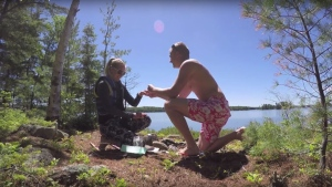 Troy Reddington proposed to his girlfriend, Jennifer Storrar, using a time capsule the couple had buried together at an island campsite five years earlier.