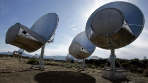 FILE - In this Oct. 9, 2007 file photo, radio telescopes of the Allen Telescope Array are seen in Hat Creek, Calif. (AP Photo/Ben Margot)