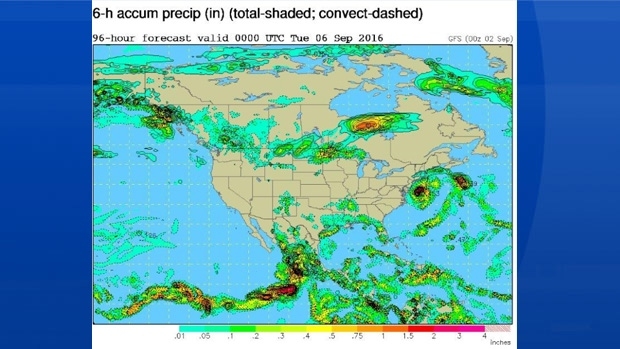 Here's a computer generated model that shows the forecast rain bands reaching SW Nova at 8pm Monday.