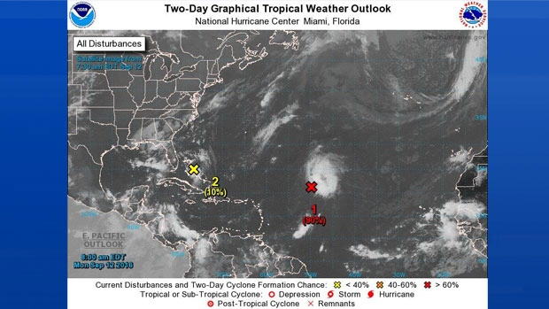 The latest Tropical Weather Outlook from NOAA; Sept 12, 2016
