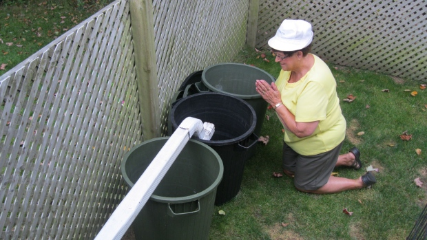Louise Smith of Arcadia NS prayed for rain yesterday!  It worked.  She had to get up at 3am to move the gutter!