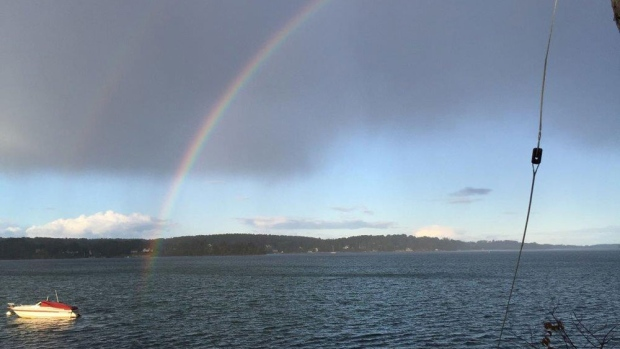 This lovely double rainbow was spotted by Dianna Scallion Francis over Mahone Bay, NS on Sunday!