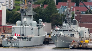 Ships rest at berth at Maritime Forces Dockyard in Halifax on Monday, Aug. 15, 2011. (THE CANADIAN PRESS/Andrew Vaughan)