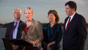 Catherine McKenna, second left, Minister of Environment and Climate Change, speaks while flanked by Jim Carr, from left to right, Minister of Natural Resources, British Columbia Premier Christy Clark and Dominic LeBlanc, Minister of Fisheries, Oceans and the Canadian Coast Guard, after the federal government announced approval of the Pacific NorthWest LNG project, at the Sea Island Coast Guard Base, in Richmond, B.C., on Tuesday September 27, 2016. THE CANADIAN PRESS/Darryl Dyck