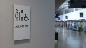 A sign marking an all-gender restroom is seen at the new Golden 1 Center in Sacramento, Calif. on Thursday, Sept. 29, 2016. (AP / Rich Pedroncelli)