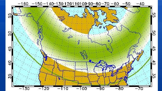 Weather permitting, highly active auroral displays will be visible overhead from Inuvik, Yellowknife, Rankin and Igaluit to Vancouver, Helena, Minneapolis, Milwaukee, Bay City, Toronto, Montpelier, and Charlottetown!