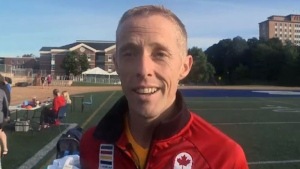 Marathon runner Eric Gillis returned to his hometown this week for Homecoming at St. Francis Xavier University.