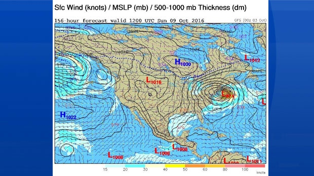 This computer based model plots one possible scenario for Hurricane Matthew -Sunday morning!