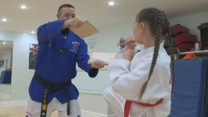 Samira George has her red belt but has set her sights on testing for black belt in Taekwondo.