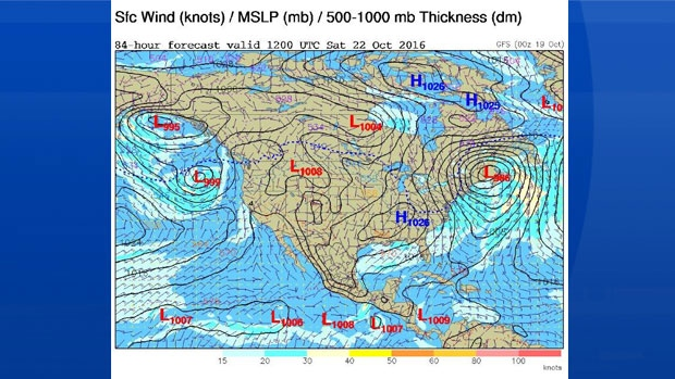 Here's a look at the forecast position of a deep low - at 8 am Saturday.  We're in for a fall storm come Friday.