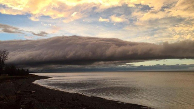 Carolyn Best Harvie spotted this cloud rolling along the coastline at Baxter's Corner, Nova Scotia late Saturday. She wasn't the only one to spot this unusual cloud formation!