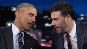 U.S. President Barack Obama talks with Jimmy Kimmel in Los Angeles, on Oct. 24, 2016. (Susan Walsh / AP)