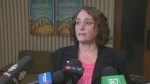 Nova Scotia Teachers Union President Liette Doucette addresses the media after receiving strong support from teachers for a strike mandate.