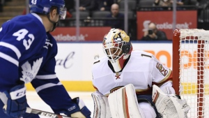 Florida Panthers goalie Roberto Luongo makes a save on a shot by Toronto Maple Leafs centre Nazem Kadri during second period NHL hockey action in Toronto on Thursday, October 27, 2016. (Frank Gunn / THE CANADIAN PRESS)