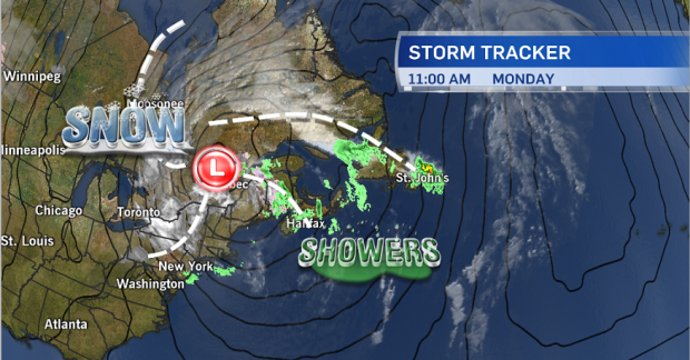 Here's a look at the current position of the powerful fall storm that is serving up the first real snow of the season