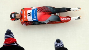 Alex Gough, of Canada, competes in the women's luge World Cup race on Saturday, Dec. 3, 2016, in Lake Placid, N.Y. (AP Photo / Mike Groll)