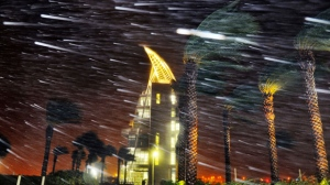 Trees sway from heavy rain and wind during Hurricane Matthew in front of Exploration Tower in Cape Canaveral, Fla., Oct. 7, 2016. (Craig Rubadoux/Florida Today via AP, File)