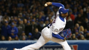 Chicago Cubs relief pitcher Aroldis Chapman throws during the seventh inning of Game 5 of the Major League Baseball World Series against the Cleveland Indians, in Chicago on Oct. 30, 2016. (AP / Nam Y. Huh)