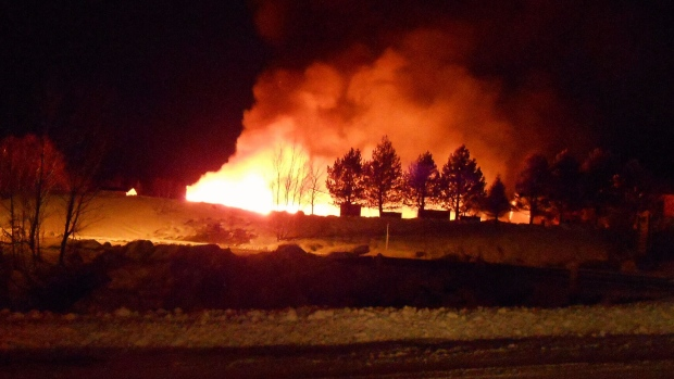 Crews battle a fire in Milltown-Head of Bay d'Espoir, Newfoundland and Labrador. (CTV News)