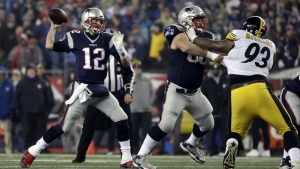 New England Patriots quarterback Tom Brady throws a pass during the first half of the AFC championship NFL football game in Foxborough, Mass. against the Pittsburgh Steelers, Sunday, Jan. 22, 2017. (AP / Matt Slocum)