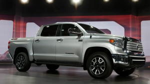 The 2014 Toyota Tundra is unveiled at the Chicago Auto Show, 2013, in Chicago, on Thursday, Feb. 7, 2013. (AP Photo/Charles Rex Arbogast)