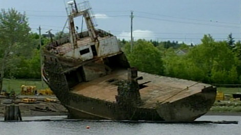 Salvage crews will begin scrapping the Cape Ann III next week.  The old freighter has been rusting in Sydney Harbour for more than five years.