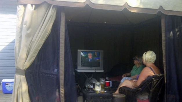 Fred Keough of Sydney, N.S. says he and his wife often watch CTV News in the gazebo on their back deck.
