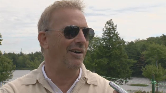 Hollywood actor Kevin Costner speaks to reporters during the 2012 TELUS World Skins Game on July. 30, 2012.