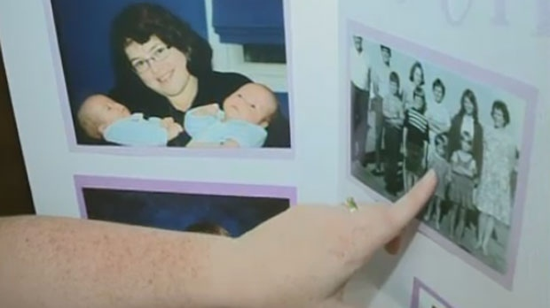 Lori Haggerty points out photos of her sister, homicide victim Patricia Ann Kucerovsky.