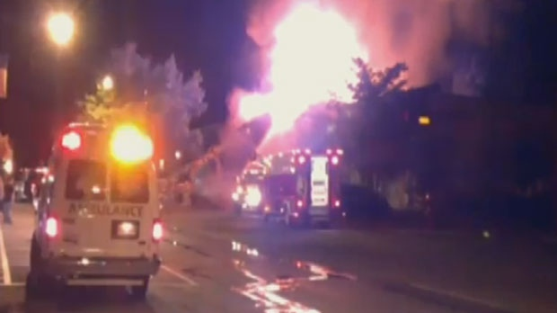 Flames lit up the sky over the downtown core in Sussex around 10 p.m. Tuesday. (Photo courtesy of Angela McMillan)