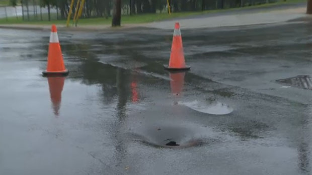 Halifax motorists were warned of a sinkhole forming on Barrington Street Wednesday afternoon.