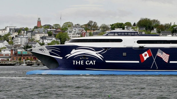 The Cat, a 320-foot high speed ferry arrives in Portland, Maine, May 22, 2006.